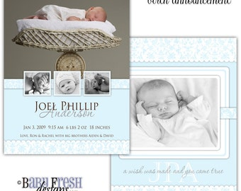 Instant Download - Photoshop PSD layered Templates for Photographers - Birth Announcement - Joel Phillip design