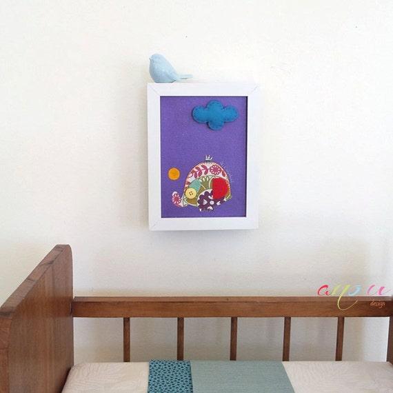 Baby Nursery wall art, 3D felt canvas,Elephant in Felt, Baby boy nursery decor, Decoration kids, Canvas 7 x 5 inch