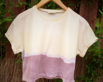 Rainbow Dip Dyed Cropped Tee - Womens Hand Dyed Organic Ombre Top - Summer Fashion Tee - Natural Dye - Purple - Yellow
