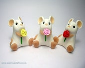 Little Mouse with Rose Valentines Mothers Day Ornament Cake Topper