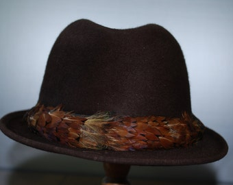 Vintage Brown Felt Fedora Hat - by Beaver Hats - with pheasant feather band - 1980's - Hipster