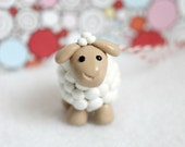 Polymer Clay Lamb Christmas Ornament
