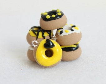Polymer Clay Donut Charms, Yellow & Black, Jewelry Supply