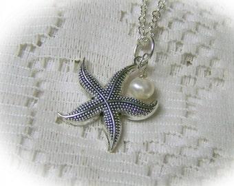 Silver Starfish BIRTHSTONE Necklace - Nautical Pendant - Bridesmaids Gift