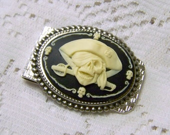 SWASHBUCKLING PIRATE Money Clip - Silver Plated Metal - Ultimate Pirate Accessory - Business Card Holder