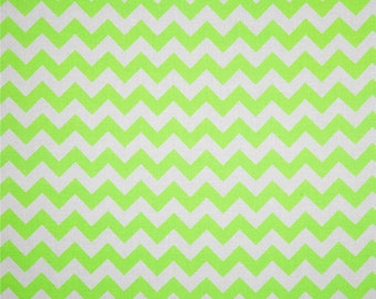 SALE - Riley Blake - Medium Chevron in Neon Green / White