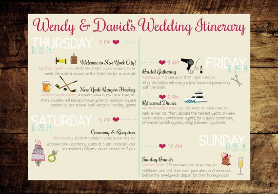 Custom Wedding Itinerary Printable PDF file . New York City