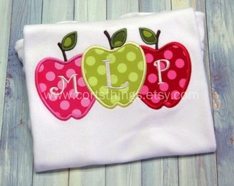 Personalized Back to School Apple Trio