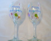 Happy Anniversary Wine Glasses Handpainted and Personalized