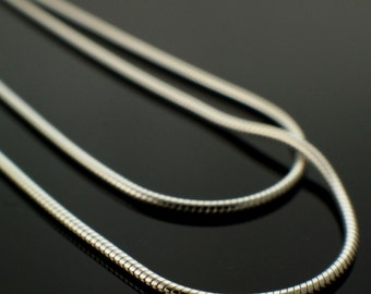 Sterling Silver Snake Chain - 1mm - 16 or 18 inches