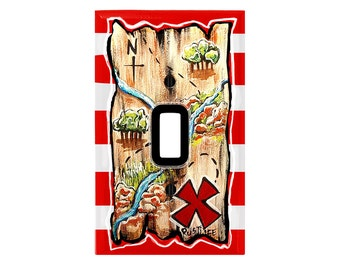 Pirate Map with Red and White Stripes SWITCH PLATE COVER