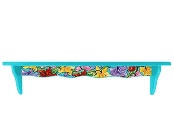 Hand Painted Bahama Blue with Colorful Hibiscus Flowers Shelf (34L X 8H X 5W IN)