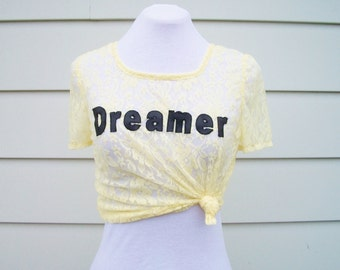 Dreamer Lace T-Shirt in Sunshine Yellow - Cute Summer Top. Leather and Lace Top. Pastel Lace Tee. One Size.