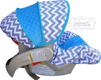 Infant Car Seat Cover Grey Chevron with Azure