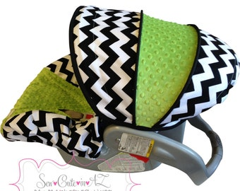 Infant Car Seat Cover Black and White Chevron with JADE