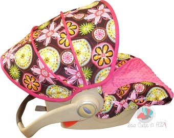 Infant Car Seat Cover Carnival Bloom with Hot Pink