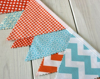Bunting Banner, Fabric Flags, Photography Prop, Birthday Decoration, Nursery Decor, Garland, Pennant - Aqua Blue, Orange, Chevron