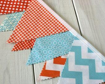 Bunting Banner, Fabric Flags, Photography Prop, Birthday Decoration, Nursery Decor, Garland, Pennant - Aqua Blue, Orange, Chevron