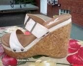Vintage early 70s PLAYBOY white silver glitter Cork Wedge Platform Sandals Size 6