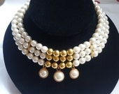 Stunning Vintage Three Strand Faux Pearl Gold Bead Dangle Choker Necklace