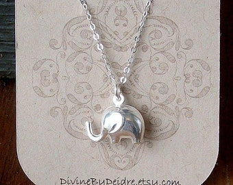 Baby Elephant Necklace. Sterling Silver Nature Jewelry. Unique Gift For Her.