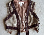 Badlands Gypsy Vest -- burning man tribal leather fusion belly dance amazon larp brown amazon costume apocalypse wasteland
