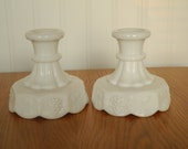 White Milk Glass Candle Holder Sticks Octagonal by Westmoreland