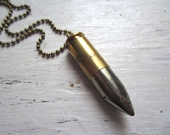 Bullet & Pyrite Stone Point Necklace - Smooth Polished Pyrite Talon SpikeSet Into Brass Bullet Casing on Chain, or Keychain