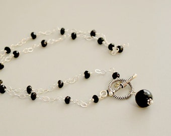 Black Spinel Wire Wrapped Necklace