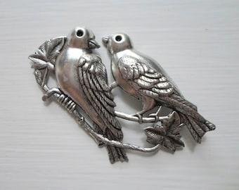 Large Vintage Antiqued Silver Bird Stamping Pendant Vintage Finding