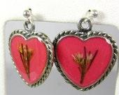 My Valentine, Pressed Flower Earrings, Real Flower Jewelry,  Dangles,  Resin (1362)