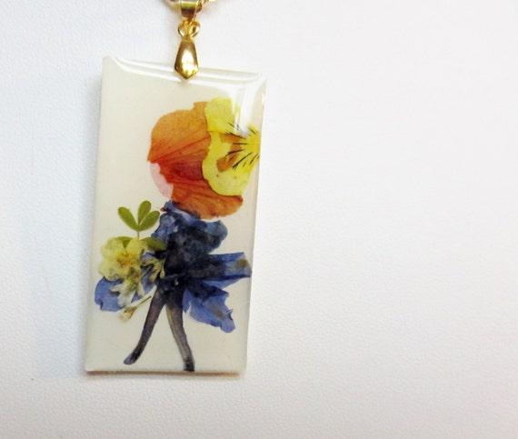 Sale! Girl with Flowers,  Pressed Flower Pendant, Real Flower Petals,  Resin  (Flower Lady Series) (987)
