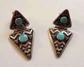 Vintage Sterling Silver & Turquoise Southwestern Native American Indian Triangle Dangle Earrings