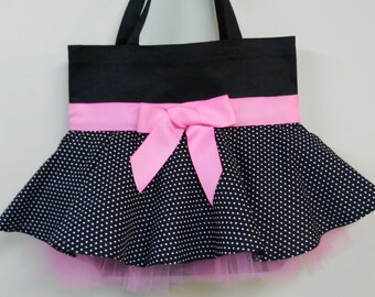 Embroidered Black Tote Bag - Black Tote Bag with Black/white Polka Dot Skirt MINI Tutu Tote Bag with Pink Ribbon and Tulle -MSTB111