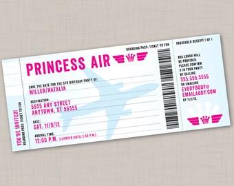 "Boarding Pass Birthday Party ""Ticket"" Invitation"