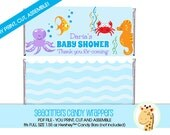 Sea Critters Under the Sea Baby Shower Customized Hershey Candy Bar Wrapper, PRINTABLE PDF