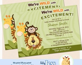 Jungle Friends Giraffe, Monkey and Lion Safari Baby Shower Invitations, Print your own or Printed Jungle Baby Shower Invitations