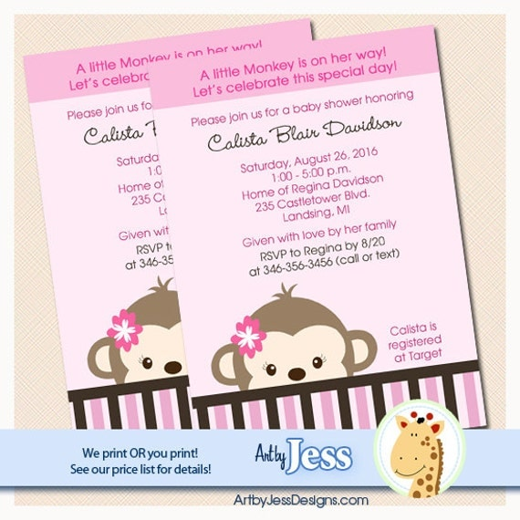 Mod monkey girl baby shower invitations print your own jpg like this item filmwisefo Gallery