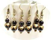 Black Earrings, Dangle Earrings, Wedding, Bridesmaid Jewelry, Antique Bronze, Black and Gold, Dressy, Black Pearl, Pearl Earrings