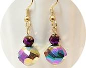Earrings, Gold, Purple Earrings, Blue Earrings, Bridesmaid, Dressy, Dangle Earrings, Gold Earrings