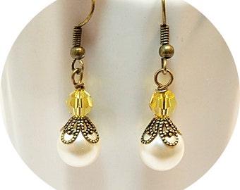 Yellow Earrings, Earrings, Pearl Earrings, Bridesmaid Jewelry, Bridal Party, Wedding,  Bridesmaid Gift, Antiqued Bronze, Pearl and Crystal