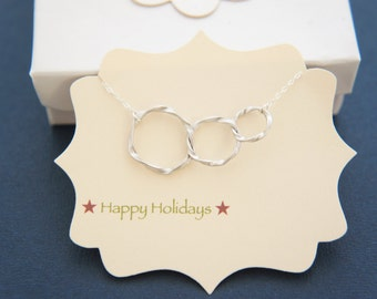 Triple silver circle ring necklace, gift, modern, layered necklace