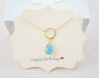 beautiful gold vermeil blue chalcedony and circle necklace, gift, holiday, pendant, wedding, layered necklace, trendy