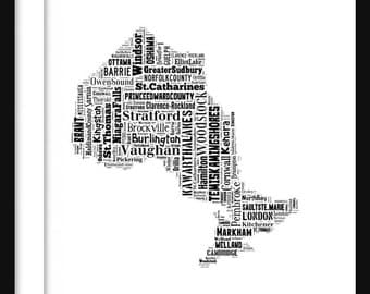 Ontario Canada Map Typography Map Poster Print Text Map