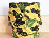 Fitted Medium Cloth Diaper- John Deere Tractors- 10 to 20 lbs