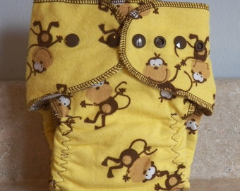 Fitted Small Cloth Diaper- 6 to 12 pounds- Bananas