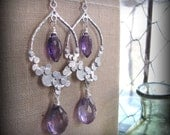 Amethyst Earrings, Sterling Silver Dangle Earrings, Bridal Wedding Earrings - ANNALISE