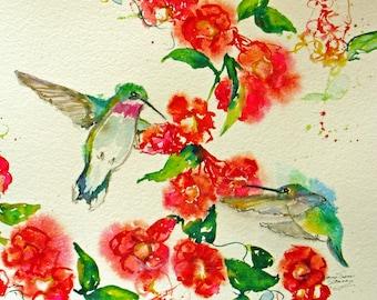 hummingbird trumpetvine giclee watercolor prints,abstract birds flight flower garden,hummingbird fuscia garden print,home decor,wall decor