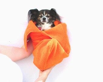 Pet Towel Dog Bath Towel Pouch-Orange