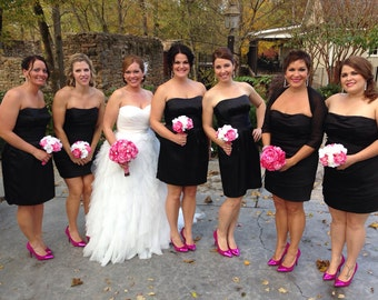 Hot pink real touch rose wedding bouquet with rhinestone brooches, bridal bouquet